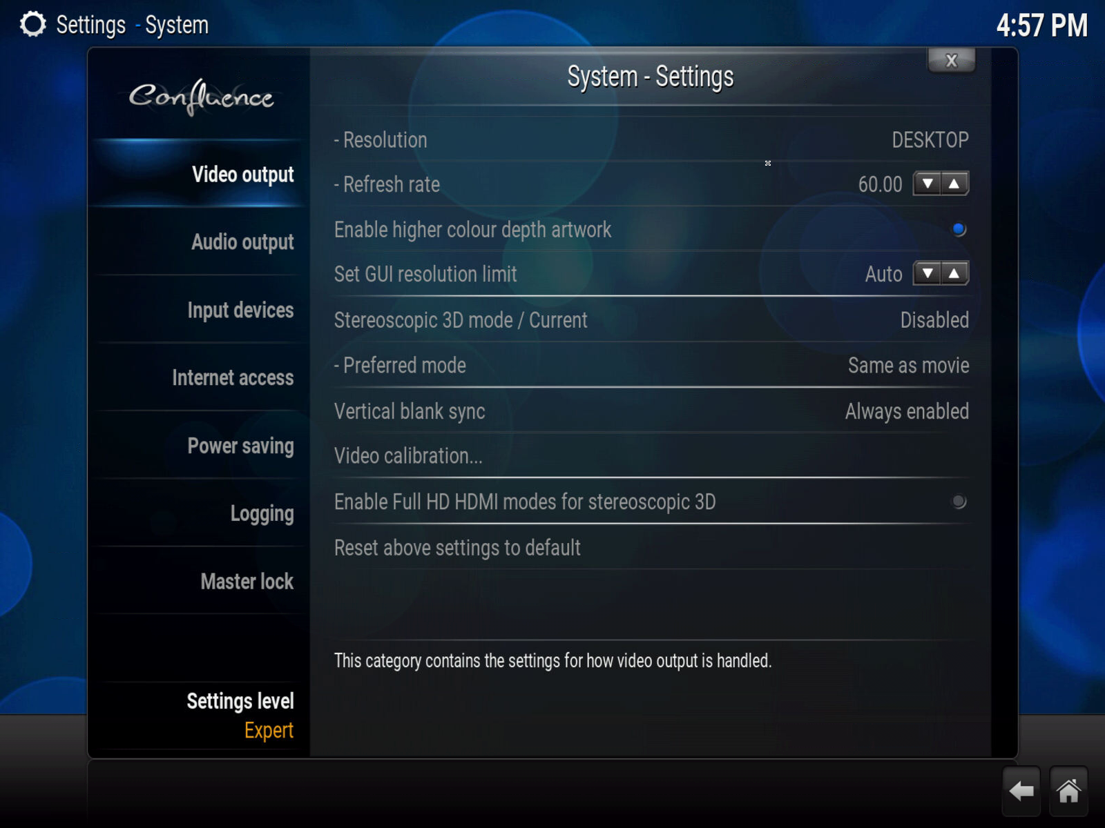 Audio Settings Confluence