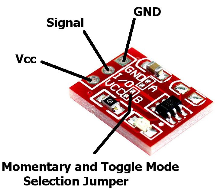 TTP223 Capapcitive touch module with toggle and momentary mode